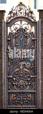 door decoration with ornate wrought-iron elements, close up. - Stock Photo