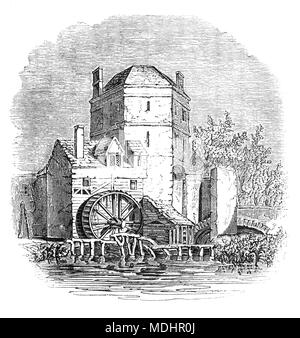 The Tower at the side of the Folly Bridge over the River Thames, Oxford, Oxfordshire, England, in which the 13th century  alchemist Roger Bacon is said to have lived and worked. 'Friar Bacon's Study' stood across the north end of the bridge until 1779, when it was removed to widen the road. - Stock Photo