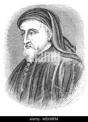 A portrait of Geoffrey Chaucer (1343 – 1400), known as the Father of English literature, is widely considered to be the greatest English poet of the Middle Ages. Among his many works are The Book of the Duchess, The House of Fame, The Legend of Good Women and Troilus and Criseyde, but he is best known for The Canterbury Tales. His work was crucial in legitimizing the literary use of the Middle English vernacular at a time when the dominant literary languages in England were French and Latin.  The first poet to be buried in Poets' Corner of Westminster Abbey, he also achieved fame as an author, - Stock Photo