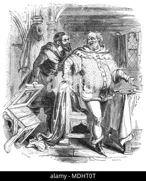 Two of the characters from The Canterbury Tales, a collection of 24 stories written  by Geoffrey Chaucer between 1387 and 1400 when he became Controller of Customs and Justice of Peace.  The tales (mostly written in verse, although some are in prose) are presented as part of a story-telling contest by a group of pilgrims as they travel together on a journey from London to Canterbury to visit the shrine of Saint Thomas Becket at Canterbury Cathedral. The illustration shows the Franklin and the Merchant. - Stock Photo