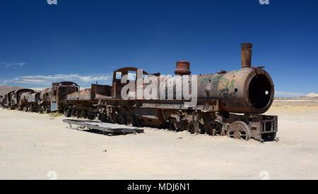 Antique train. Train cemetery. Uyuni. Bolivia - Stock Photo