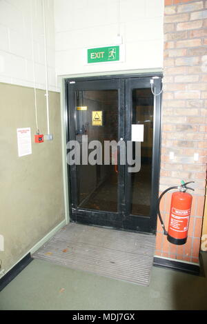 Hight rise tower block fire doors, building fire containment - Stock Photo
