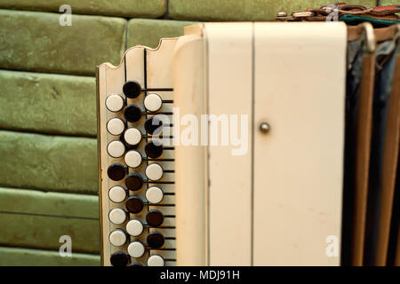Old musical instrument Russian bayan - Stock Photo