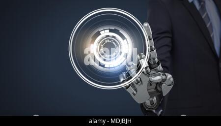 Robotic android hand touching and Glowing circle technology interface - Stock Photo