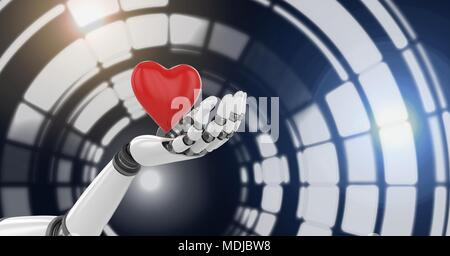 Robotic android hand holding heart and Glowing circle technology interface - Stock Photo