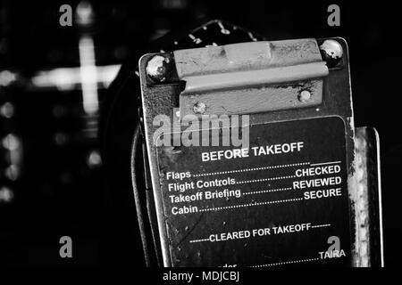 Checklist On The Flight Deck Of A Boeing 747 400 Stock Photo