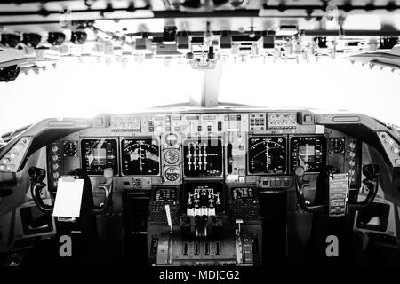 Flight Deck of a Boeing 747-400 in Flight - Stock Photo