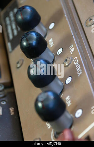 Fuel Control Switches on the Flight Deck of a Boeing B747-400 - Stock Photo