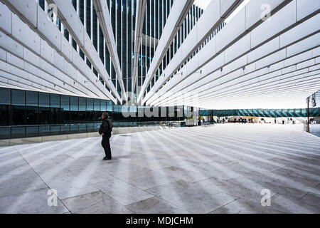 Portugal, Lisbon - March 15, 2018. The EDP Headquarters is designed by Aires Mateus and a landmark on Lisbon's skyline. - Stock Photo