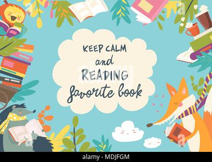 Cute frame composed of animals reading books