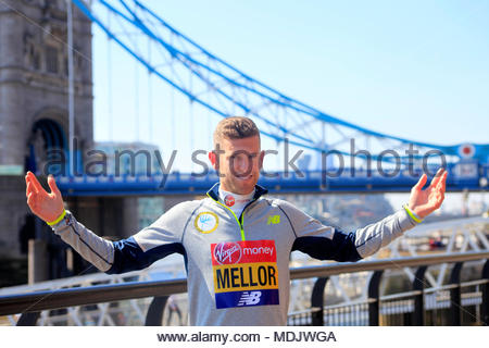 Tower Hotel, London, UK. 19th April 2018 .  Jonny Mellow (GBR) during a press photocall ahead of the Virgin Money London Marathon. Credit: Ng'ang'a/Alamy Live News. - Stock Photo