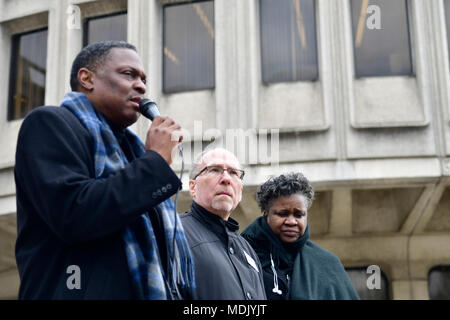 Philadelphia, USA. 19th Apr, 2018. Rev. Greg Holston, Executive Director of Philadelphians Organized to Witness, Empower and Rebuild (POWER), speaks at a Police Accountability rally hosted by POWER outside Police Dept. headquarters in center City Philadelphia, PA, on April19, 2018. Credit: Bastiaan Slabbers/Alamy Live News - Stock Photo