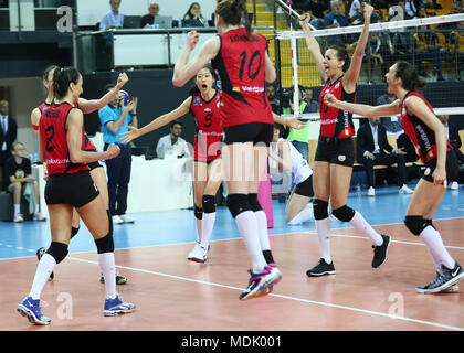 Istanbul, Turkey. 19th Apr, 2018. Vakifbank player Zhu Ting (Back) celebrates scoring with her teammates during the second leg match of the 2017-2018 Turkish Women Volleyball League final series between Vakifbank and Eczacibasi in Istanbul, Turkey, on April 19, 2018. Vakifbank lost 1-3. Credit: VakifbankSK/Xinhua/Alamy Live News - Stock Photo