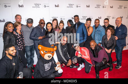 New York, USA, 19 April 2018. The cast and crew of 'United Skates' pose at the 2018 Tribeca Film Festival premiere of their film in New York city.  Photo by Enrique Shore / Alamy Live News - Stock Photo