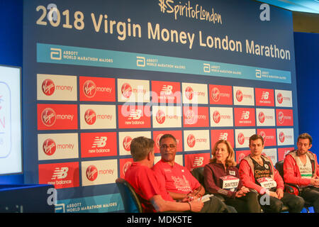 London UK 20 April 2018 As part of the Spirit of London David Wyeth,Matthew Rees, Kathrine Switzer,and ex boxer Michael Watson at a press conference for the Virgin Money London Marathon 2018.@Paul Quezada-Neiman/Alamy Live News - Stock Photo