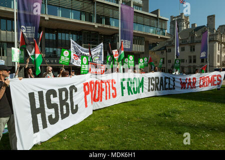 London, UK. 20th Apr, 2018. HSBC - Stop Arming Israel Protest: London UK 20th April, 2018. Stop Arming Israel protest sees Palestinian and anti-war campaigners heckle shareholders on their way to HSBC's AGM outside London's Queen Elizabeth II Conference Centre in Westminster, claiming that bank is directly profiting from investments and financial services to companies that supply arms to Israel. Credit: Steve Parkins/Alamy Live News - Stock Photo