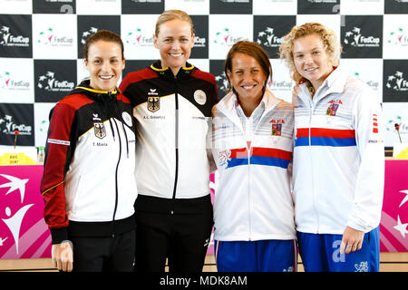 Stuttgart, Germany, 20th April, 2018. German tennis player Tatjana Maria and Anna-Lena Groenefeld with czech players Barbora Strycova  and Katerina Siniakova during the draw ceremony before the Fed Cup Semifinals. Credit: Frank Molter/Alamy Live News - Stock Photo