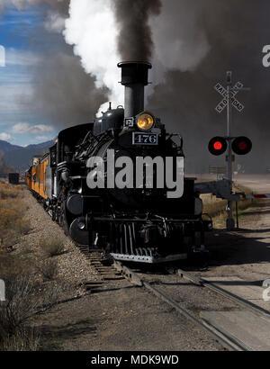 Durango and Silverton Narrow gauge railroad in Durango traveling through San Juan Forest, Colorado, USA - Stock Photo