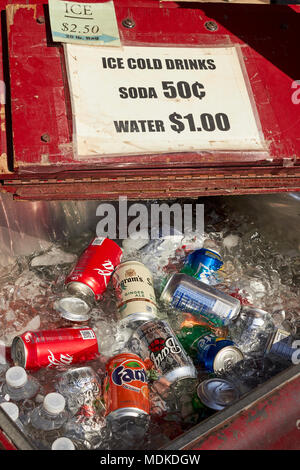 Cold drinks for sale, Green Dragon Market, Amish Country, Ephrata, Lancaster County, Pennsylvania, USA - Stock Photo