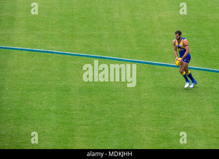 West Coast Eagles player, Jack Darling, lining up to kick the football in a game of Australian Rules Football at Optus Stadium, Perth WA Australia. - Stock Photo