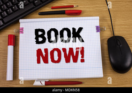 Handwriting text writing Book Now Motivational Call. Concept meaning Make a reservation in hotel flight accommodation - Stock Photo