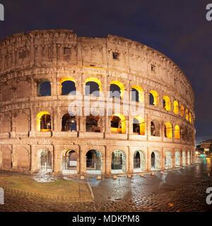 Illuminated Colosseum, Colosseo, UNESCO World Heritage, Rome, Lazio, Italy