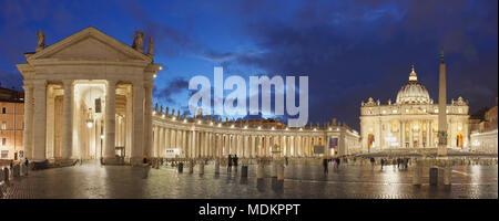 St. Peter's Square with St. Peter's Basilica, Colonnades of Bernini, Dawn, Vatican, Rome, Lazio, Italy - Stock Photo