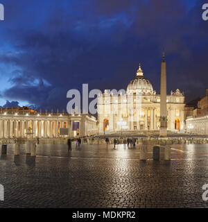 St. Peter's Square with St. Peter's Basilica, Colonnades of Bernini, Vatican, Rome, Lazio, Italy - Stock Photo