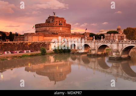 Engelsburg and Engelsbrücke, Dawn, Rome, Lazio, Italy - Stock Photo
