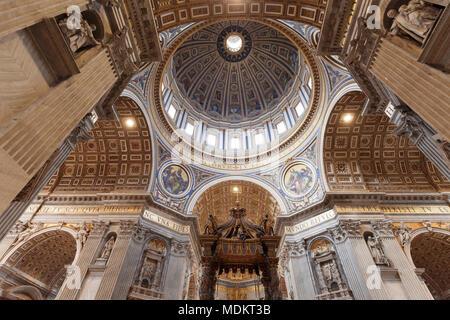 Interior, Dome, Saint Peter's Basilica, Basilica di San Pietro, Vatican, Rome, Lazio, Italy - Stock Photo