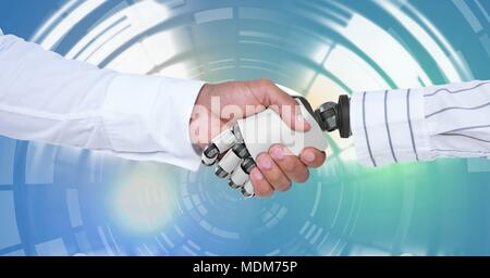 Robotic android handshake with human and Glowing circle technology interface - Stock Photo