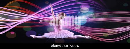 Dancer with glowing colorful curves - Stock Photo