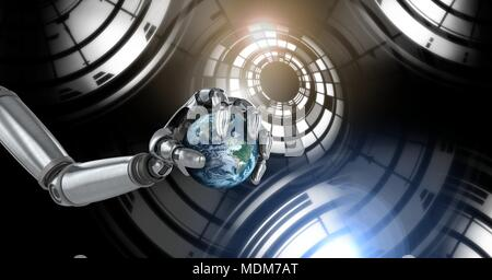 Robotic android hand holding world earth and Glowing circle technology interface - Stock Photo
