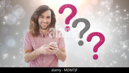 Man thinking with thatched question marks - Stock Photo