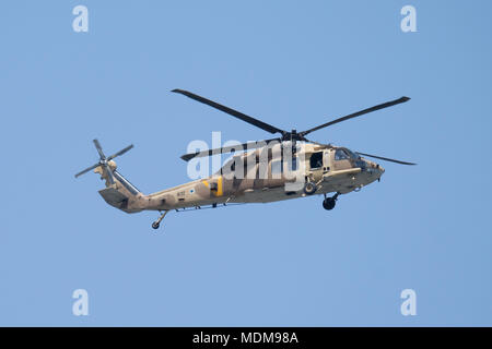 A Sikorsky UH-60 Black Hawk helicopter called Yanshuf of the Israeli air force flying during airshow over Jerusalem on Israel's 70th Independence day celebrations - Stock Photo