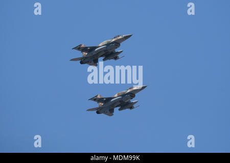 Lockheed F-16I 'Fighting Falcon' also called Sufa of the Israeli air force flying during air show over Jerusalem on Israel's 70th Independence day celebrations - Stock Photo
