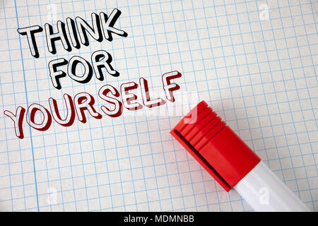 Handwriting text think for yourself concept meaning have an handwriting text think for yourself concept meaning have an independent mind attitude make your own solutioingenieria Images