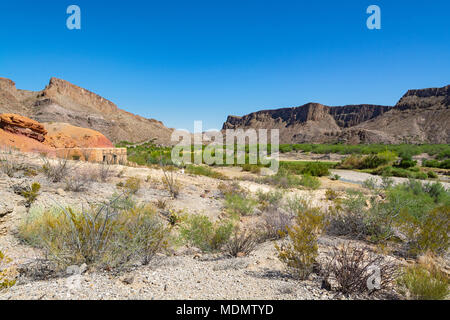 Texas, Big Bend Ranch State Park, Contrabando movie location near Lajitas at Rio Grande river - Stock Photo