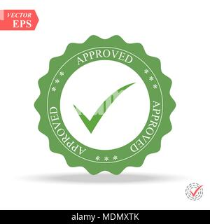 Approved Stamp Vector Over a White Background. Simple mark graphic design. eps - Stock Photo