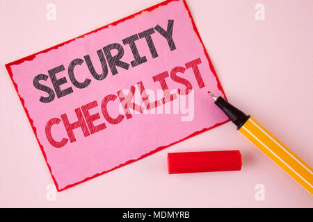 Text sign showing Security Checklist. Conceptual photo list with authorized names to enter allowing procedures written Pink Sticky Note paper the plai - Stock Photo