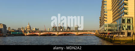 Panoramic view of Sea Containers House, iconic City of London modern skyscrapers, Blackfriars Bridge over the River Thames and St Paul's Cathedral - Stock Photo