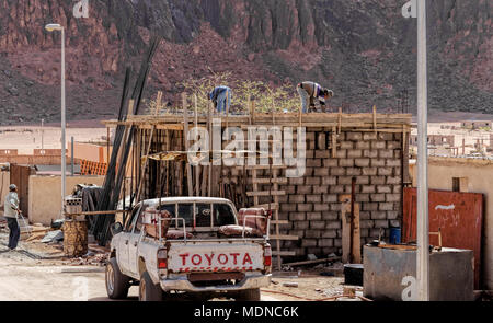 Wadi Rum Village, Jordan, March 8, 2018: Construction site for a new family home in the small village on the edge of the nature reserve in the desert - Stock Photo