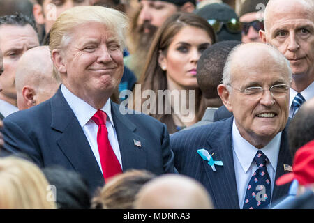 New York, USA, 11 September 2016.  US President Donald Trump greets supporters next to former New York Mayor Rudolph Giuliani in this file photo from 9/11/2016 at the September 11 Memorial in New York City.  Giuliani will join Trump's legal team in an effort to resolve the special counsel's Russia inquiry, it was announced on April 19, 2018. Photo by Enrique Shore​ / Alamy Stock Photo - Stock Photo