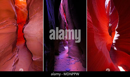 Compilation of Peek A Boo slot canyon, Compilation of Peek A Boo slot canyon, purple color saturated, at Dry Fork, a branch of Coyote Gulch, Hole In T - Stock Photo