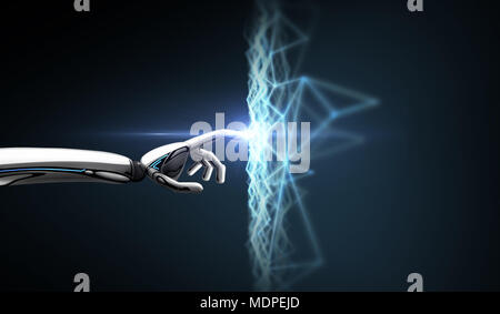 robot hand connecting to virtual network - Stock Photo