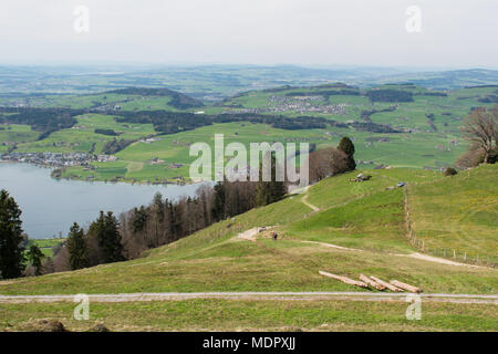Landscape view of lake Lucerne from mountain Rigi in Switzerland. Hiking path, trail - Stock Photo