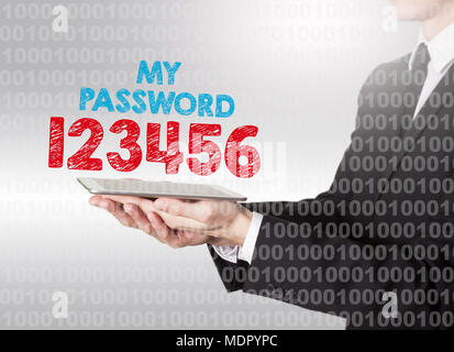 Internet password security concept. Binary code with text. Man holding a tablet computer - Stock Photo