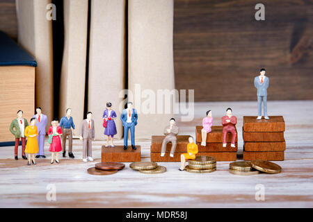 Career ladder. The future of work, competition and business background. Colorful Human miniatures - Stock Photo