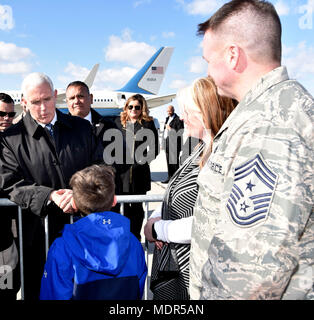 Maj. Gen. Leonard Isabelle, Col. Bryan Teff and Col. Josiah Meyers greeted Vice President of the United States Michael Pence at Detroit Metro Airport, March 2, 2018. Vice President Pence took the time to take photos and shake hands with civilians in attendance and Airman from the 110th Attack Wing, Battle Creek, Mich. during his visit. (Air National Guard photo by Tech. Sgt. Jason Boyd/Released) - Stock Photo