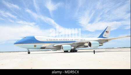 KEY WEST, Florida (April 19, 2018) Air Force One arrives at Naval Air Station Key West's Boca Chica Field carrying President of the United States Donald J. Trump. During the president's trip to Key West, he spoke to service members and guests and received a brief from Joint Interagency Task Force South, U.S. Northern Command and U.S. Southern Command. NAS Key West is a state-of-the-art facility for air-to-air combat fighter aircraft of all military services and provides world-class pierside support to U.S. and foreign naval vessels. (U.S. Navy photo by Mass Communication Specialist 2nd Class C - Stock Photo